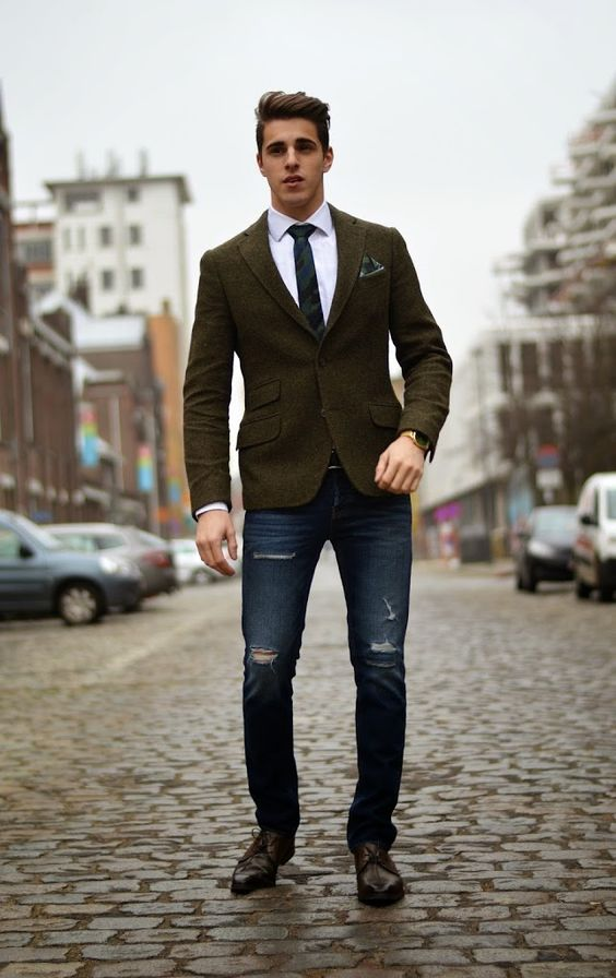 Outfit uomo casual chic con giacca e jeans - Outfit Uomo Casual Chic