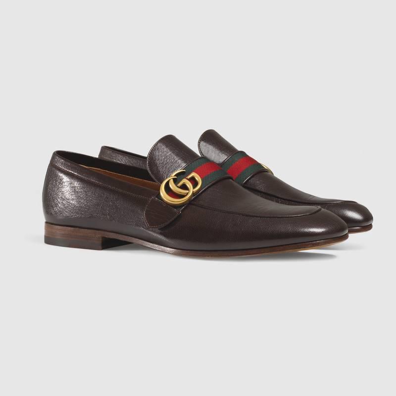 Mocassino Gucci uomo con cinturino nastro web e doppia G - Scarpe Uomo eleganti 2019