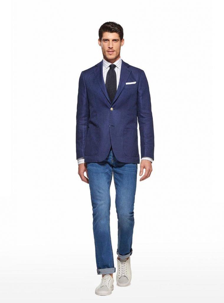 Blazer in misto lino blu Gutteridge 759x1024 - Giacche Uomo Gutteridge collezione primavera estate 2019