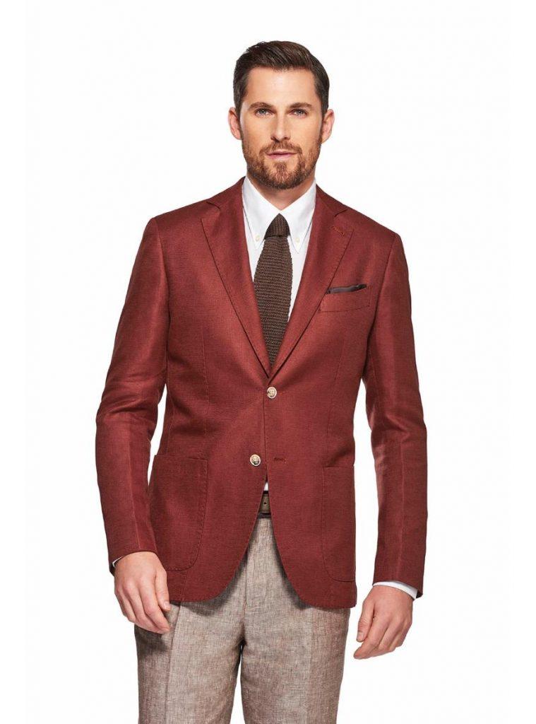 Blazer in misto lino mattone Gutteridge 759x1024 - Giacche Uomo Gutteridge collezione primavera estate 2019