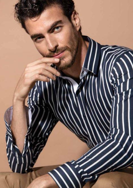 Camicia blu a righe bianche Nara Camicie primavera estate 2019 - Catalogo Uomo Nara Camicie primavera estate 2019