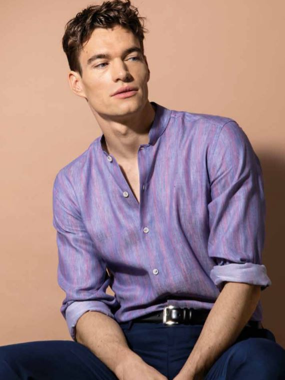 Camicia in lino uomo Nara Camicie catalogo primavera estate 2019 - Catalogo Uomo Nara Camicie primavera estate 2019