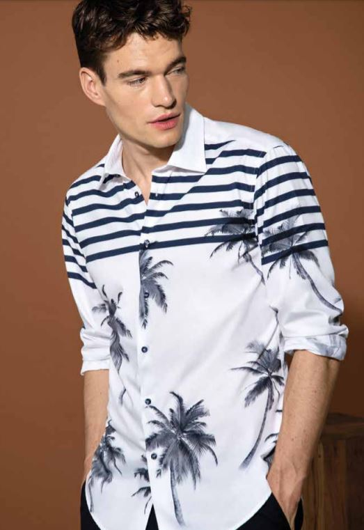 Camicia uomo a maniche lunghe in fantasia estate 2019 - Catalogo Uomo Nara Camicie primavera estate 2019