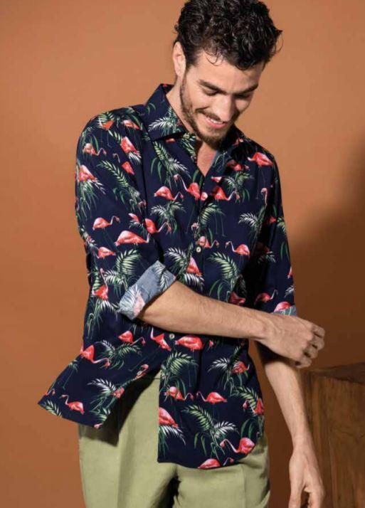 Camicia uomo con fenicotteri collezione primavera estate 2019 - Catalogo Uomo Nara Camicie primavera estate 2019
