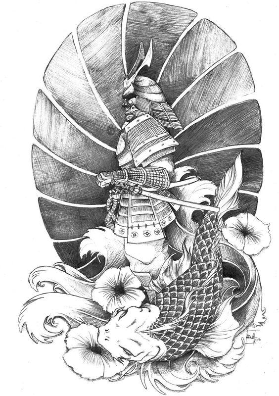 Disegno per tatuaggio Samurai guerriero - Tatuaggio Uomo Samurai