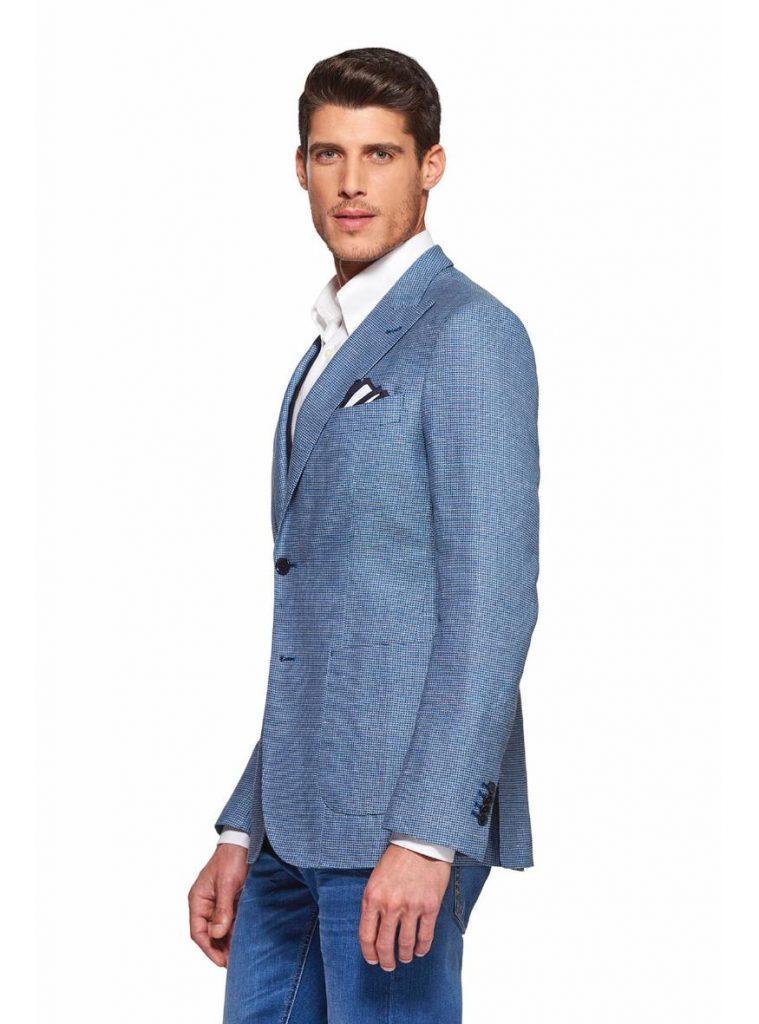 Giacca uomo Gutteridge in cotone operato stretch colore azzurro primavera estate 2019 759x1024 - Giacche Uomo Gutteridge collezione primavera estate 2019