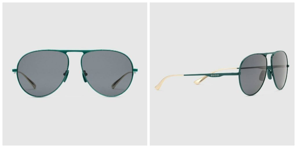 Occhiali da sole Gucci aviator con la montatura in metallo verde petrolio 1024x512 - Occhiali da sole GUCCI Uomo 2019