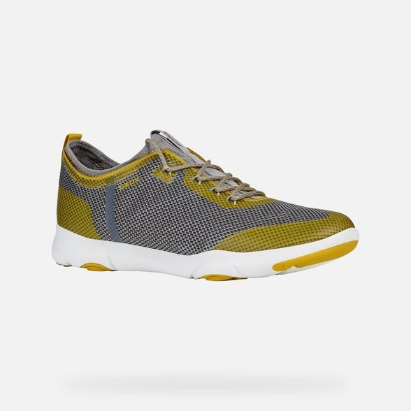 Nuove sneakers GEOX uomo estate 2019 modello Nebula X grigio gialla - Geox Sneakers Uomo Estate 2019