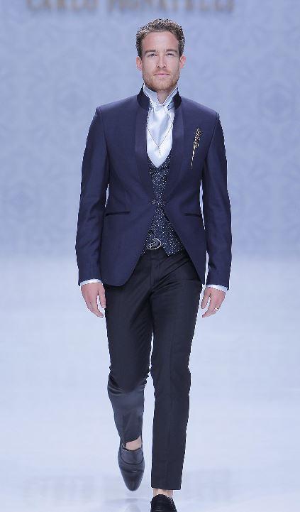 Abito da sposo blu con giacca collo alla coreana Carlo Pignatelli 2020 - Abiti da Sposo 2020 Carlo Pignatelli