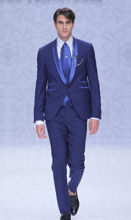 Abito da sposo blu oltremare con revers a contrasto Pignatelli 2020 - Abiti da Sposo 2020 Carlo Pignatelli