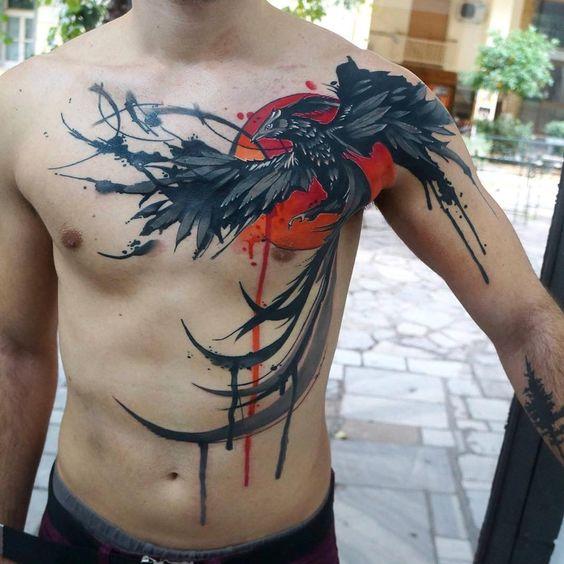 Tatuaggio drago di grandi dimensioni sul petto - Tatuaggio Drago Uomo: Foto e Significato