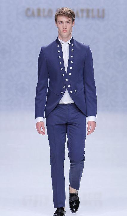 Vestito da sposo blu con colletto alla coreana - Abiti da Sposo 2020 Carlo Pignatelli