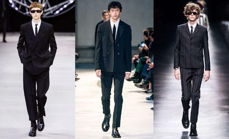 Moda Uomo Abiti neri con camicie bianche inverno 2019 2020 - Tendenze Moda Abbigliamento Uomo Inverno 2019 2020
