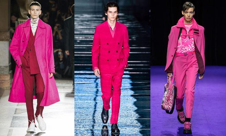 Moda Uomo inverno 2019 2020 il colore Rosa Neon - Tendenze Moda Abbigliamento Uomo Inverno 2019 2020