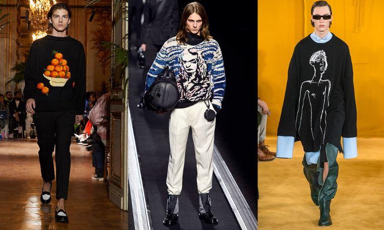 Moda Uomo inverno 2019 2020 maglioni con illustrazioni - Tendenze Moda Abbigliamento Uomo Inverno 2019 2020
