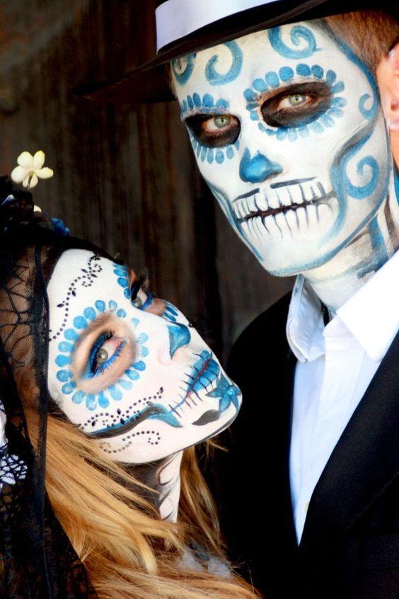 Idea trucco coppia per Halloween da teschi messicani - Trucco Uomo Halloween: Foto Idee