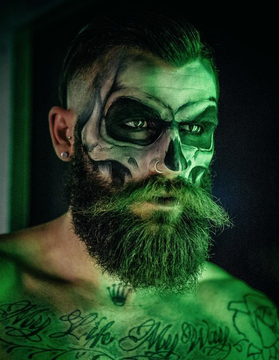 Make up Halloween uomo con barba - Trucco Uomo Halloween: Foto Idee