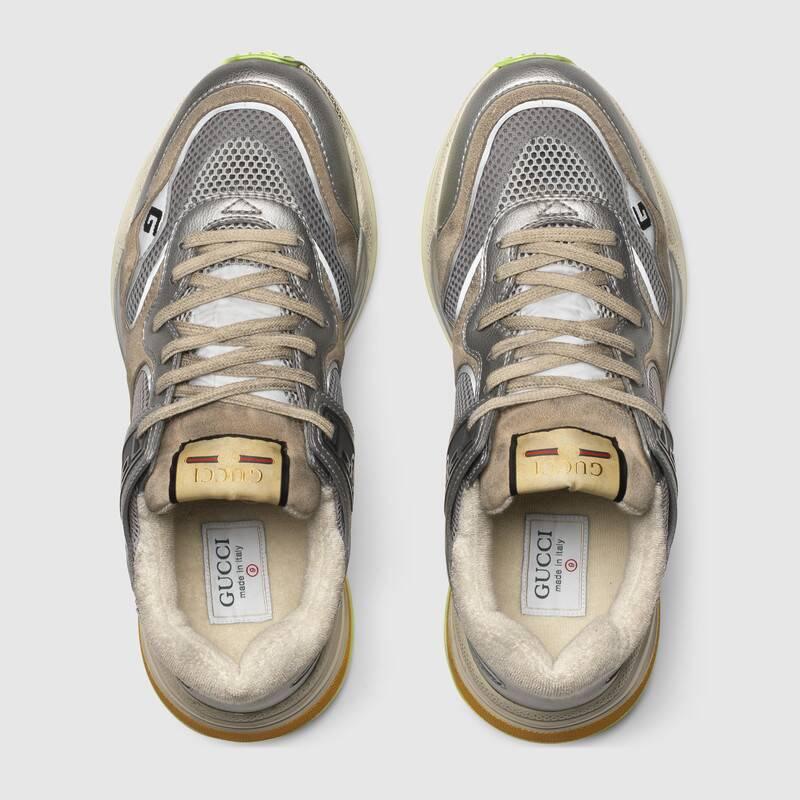 Nuove scarpe uomo Gucci modello Ultrapace in pelle metallizzata argento collezione inverno 2019 2020 prezzo 690 euro - Nuove scarpe Gucci Uomo Inverno 2019 2020