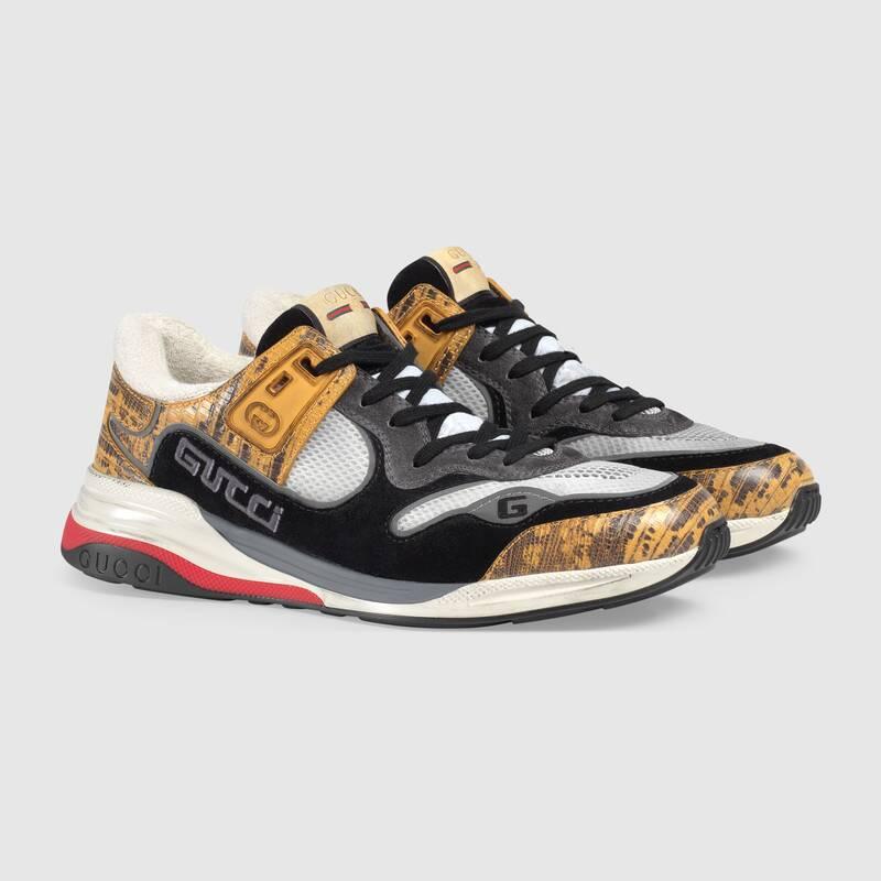 Nuove sneakers uomo Gucci modello Ultrapace in tessuto giallo collezione inverno 2019 2020 prezzo 690 euro - Nuove scarpe Gucci Uomo Inverno 2019 2020