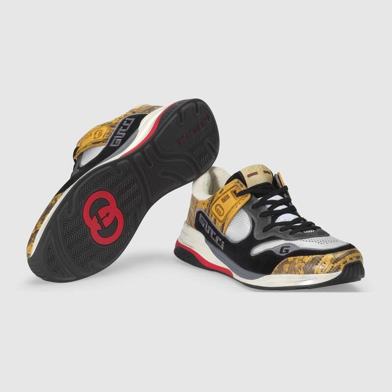 Nuove sneakers uomo Gucci modello Ultrapace in tessuto giallo collezione inverno 2019 2020 - Nuove scarpe Gucci Uomo Inverno 2019 2020