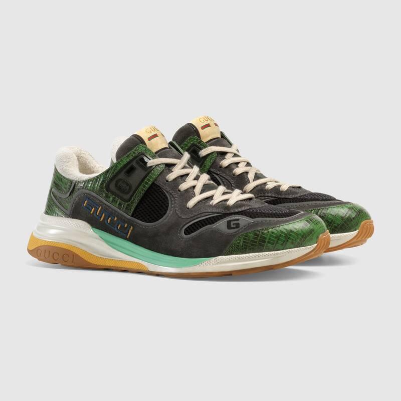 Nuove sneakers uomo Gucci modello Ultrapace verdi collezione inverno 2019 2020 prezzo 690 euro - Nuove scarpe Gucci Uomo Inverno 2019 2020