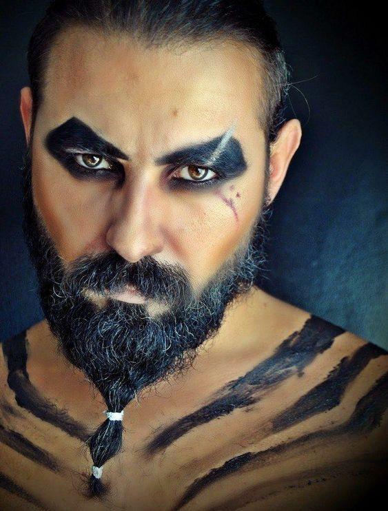 Trucco uomo Halloween con barba da Drogo del Trono di Spade - Trucco Uomo Halloween: Foto Idee
