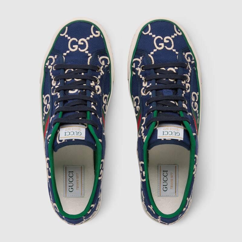 Nuove sneakers Gucci Tennis 1977 uomo primavera estate 2020 colore blu GG - Sneakers Gucci Uomo primavera estate 2020